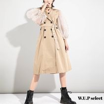 Dots Casual Style Blended Fabrics Long Trench Coats