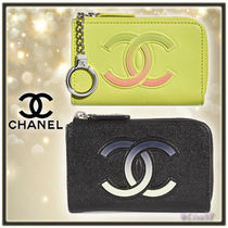 CHANEL Unisex Plain Leather Keychains & Bag Charms