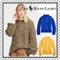 POLO RALPH LAUREN Crew Neck Cable Knit Wool Plain Medium Oversized