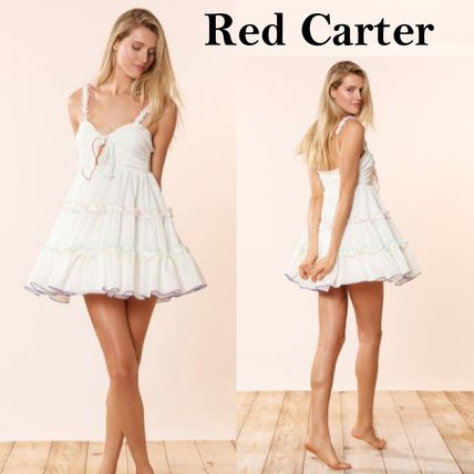 Short Casual Style Sleeveless Flared Bi-color Dresses