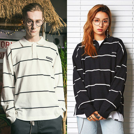 Stripes Casual Style Unisex Street Style Long Sleeves Medium