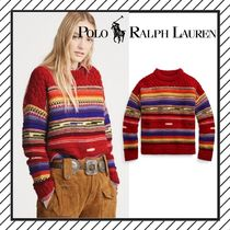 POLO RALPH LAUREN Crew Neck Cable Knit Stripes Casual Style Wool Medium