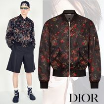 DIOR HOMME Short Flower Patterns Street Style MA-1 Bomber Jackets