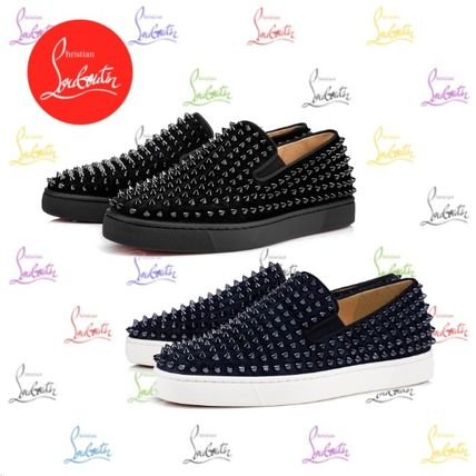 c4b92bf68fe0 ... Christian Louboutin Loafers   Slip-ons Suede Blended Fabrics Studded  Plain Loafers ...
