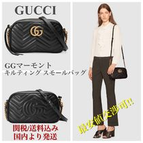 GUCCI GG Marmont Casual Style Chain Plain Leather Handbags