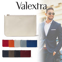 Valextra Blended Fabrics Street Style Plain Leather Clutches