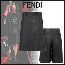 FENDI Plain Leather Shorts