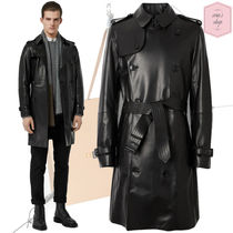 Burberry Blended Fabrics Plain Leather Trench Coats