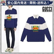 GUCCI Pullovers Stripes Long Sleeves Cotton Oversized Polos