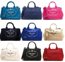 PRADA CANAPA Casual Style Canvas A4 2WAY Totes