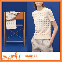 HERMES Casual Style Blended Fabrics Short Sleeves Sweaters