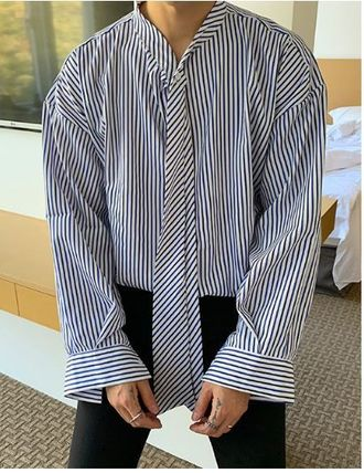 ASCLO Shirts Stripes Oversized Shirts