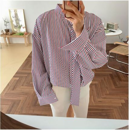 ASCLO Shirts Stripes Oversized Shirts 20