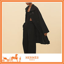 HERMES Wool Plain Long Duffle Coats