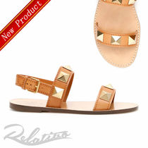 VALENTINO Open Toe Casual Style Studded Plain Leather Sandals