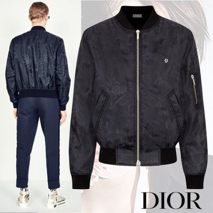 best service first look crazy price DIOR HOMME 2019 SS Short Flower Patterns Plain MA-1 Bomber Jackets  (923C437A4463_C989)