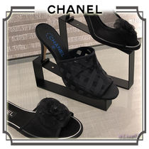CHANEL Open Toe Plain Pin Heels Elegant Style Heeled Sandals