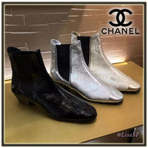 CHANEL Plain Leather Block Heels Chelsea Boots Elegant Style