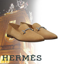 HERMES Plain Toe Moccasin Suede Blended Fabrics Street Style