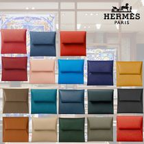 HERMES Bastia Bi-color Plain Leather Coin Cases