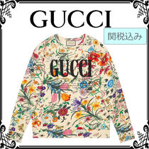 GUCCI Flower Patterns Casual Style Long Sleeves Cotton Medium