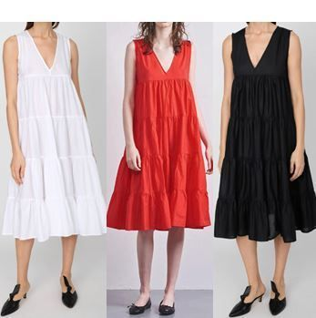 Sleeveless V-Neck Plain Cotton Long Dresses