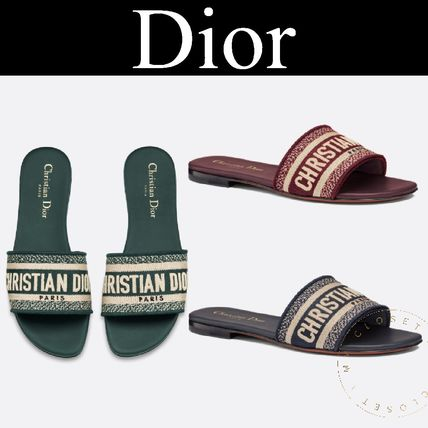 newest 5b603 ace05 Christian Dior 2019 SS Stripes Casual Style Blended Fabrics Street Style  Sandals