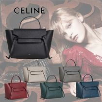 CELINE Belt Calfskin 2WAY Plain Elegant Style Bold Shoulder Bags
