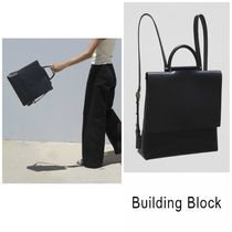 Building Block Casual Style Plain Leather Backpacks