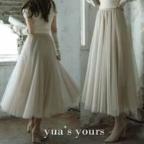 Flared Skirts Casual Style Plain Long Lace Skirts