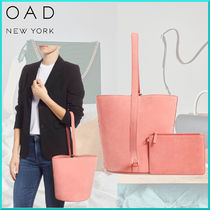 OAD NEW YORK Casual Style Plain Leather Totes