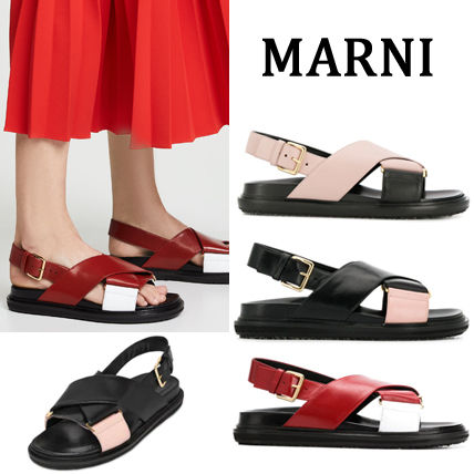 Open Toe Rubber Sole Casual Style Plain Footbed Sandals