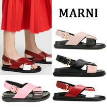 MARNI Open Toe Rubber Sole Casual Style Plain Footbed Sandals
