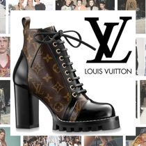 Louis Vuitton Monogram Platform Plain Toe Blended Fabrics Leather