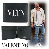 VALENTINO Unisex Street Style Plain Leather Folding Wallets