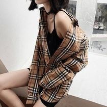 Short Gingham Street Style Long Sleeves Cotton Office Style