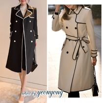 Bi-color Plain Long Trench Coats