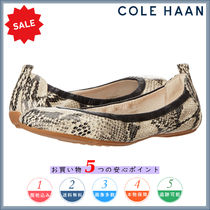 Cole Haan Round Toe Casual Style Other Animal Patterns Leather Flats