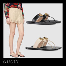 5aa7628c2867 GUCCI GG Marmont Open Toe Casual Style Plain Leather Flip Flops Flat Sandals