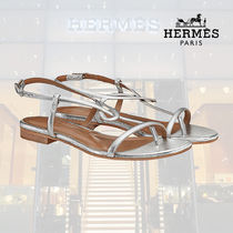 HERMES Open Toe Rubber Sole Blended Fabrics Plain Leather