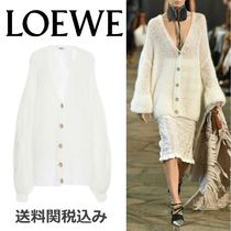 LOEWE Cable Knit Wool Blended Fabrics Long Sleeves Plain