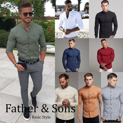 Street Style Long Sleeves Plain Cotton Shirts