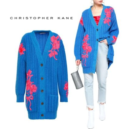 Flower Patterns Casual Style Long Sleeves Long Oversized