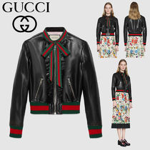 GUCCI Casual Style Plain Leather Medium Jackets