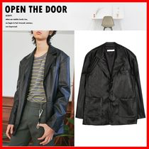 OPEN THE DOOR Unisex Street Style Leather Biker Jackets