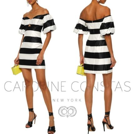 Stripes Tight V-Neck Cotton Dresses