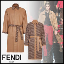 FENDI Plain Leather Long Trench Coats