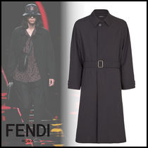 FENDI Wool Plain Long Trench Coats