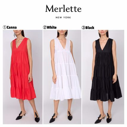 Sleeveless Plain Cotton Long Dresses