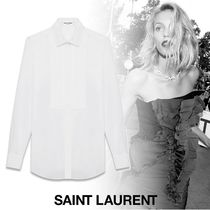 Saint Laurent Long Sleeves Plain Cotton Shirts & Blouses